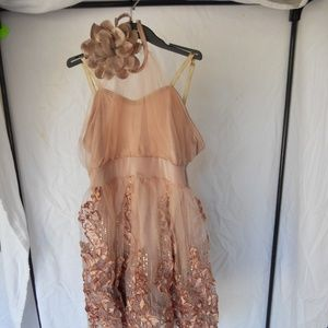Pink Tulle Dress with Floral Embroidery